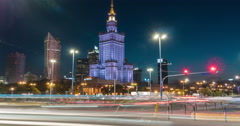 Night traffic next to Palace of Culture and Science, Warsaw Time Lapse Stock Footage
