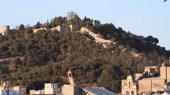 Gibralfaro Castle and Alcazaba view in Malaga, Spain Stock Footage