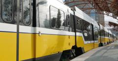 Lovers Lane Station with DART train leaving Stock Footage