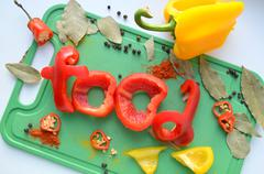 """The word """"food"""" cut pepper - stock photo"""