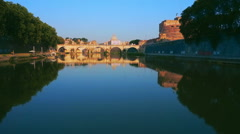 Stock Video Footage of Aerial Castel Sant angelo fortress and bridge view in Rome, Italy.