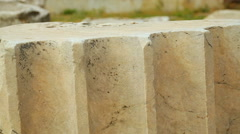 Piece of processed marble, building material in classical antique architecture Stock Footage