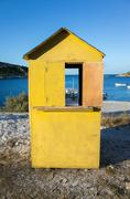 Greece, Zakynthos, Yellow beach hut Stock Photos