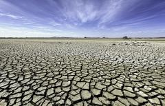 Australia, Victoria, Barren plain with parched soil - stock photo