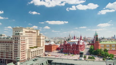 Panorama to Manezh Square, Hotel Moscow, historical Museum and Kremlin timelapse Stock Footage