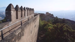 Alcazaba castle on Gibralfaro mountain. Malaga in Andalusia, Spain. Stock Footage