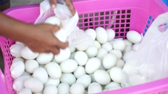 Hand are selecting duck eggs into the bag Stock Footage