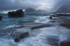 Norway, Lofoten, Uttakleiv, Strom over beach - stock photo