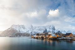 Norway, Lofoten, Sakrisoya, View of fishing village in mountains - stock photo