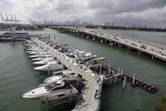 USA, Florida, Miami, Miami Beach, Elevated view of marina Stock Photos