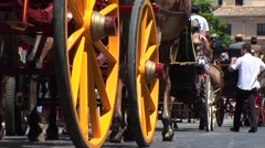 Horsemen and carriages at the Malaga August Fair Stock Footage