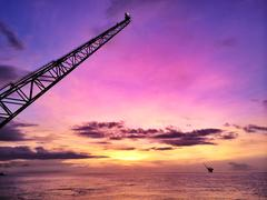 Close-up of crane on oil rig Stock Photos