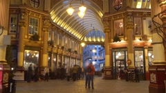 View of Leadenhall Market in London - stock footage