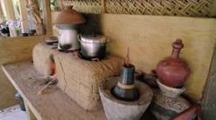 Balinese traditional stove Stock Footage