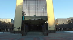 Vertical panorama of Novosibirsk State University at early morning Stock Footage