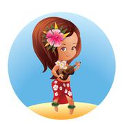 Luau Ukulele Hawaiian cartoon girl Stock Illustration