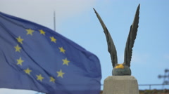 Stock Video Footage of View of the top of Custozza monument and an European Union flag in Alba Iulia