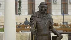 Bronze statue of a soldier in Alba Iulia fortress Stock Footage