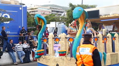Carnival groups and costumed characters,Tenerife, Canary Islands, Spain Stock Footage