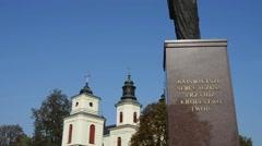 Statue of Jesus near Church in Zbuczyn, Poland Stock Footage