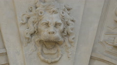 Lion head bas-relief on the third gate of Alba Iulia fortress - stock footage