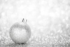 Glittering silver Christmas ball - stock photo