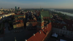 4K Aerial view of Castle Square, with Royal Castle and old buildings, Warsaw Stock Footage