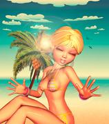 Stock Illustration of Blond Girl on Beach