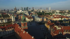 Aerial view of the Royal Castle and historic townhouses in Warsaw Stock Footage
