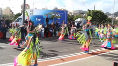Stock Video Footage of Carnival groups and costumed characters,Tenerife, Canary Islands, Spain