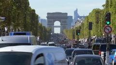 Paris, Avenue des Champs-Elysees and Arc de Triomphe Stock Footage