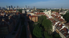 Aerial view of the Fortifications of Old Town, Warsaw Stock Footage
