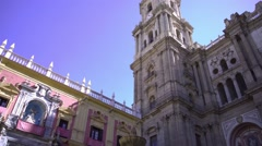 Malaga Cathedral View Stock Footage