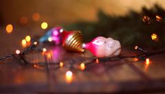 Christmas toys and Christmas lights in a gradual blurring Stock Footage