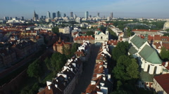 Aerial view of Church of the Holy Spirit and Fortifications of Old Town, Warsaw Stock Footage