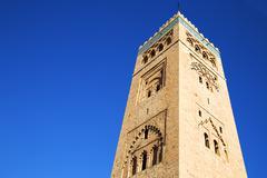 History   maroc   minaret religion and  blue     sky Stock Photos