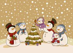 Snowman holiday party - stock illustration