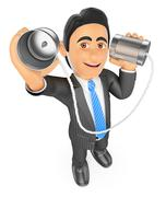 3D Businessman speaking through a can. Communication concept Stock Illustration