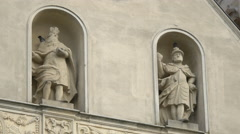 Stock Video Footage of Sculptures of Saint Michael on the Saint Michael Cathedral in Alba Iulia