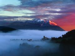 Stock Photo of sunrise in Aramaio valley with Udalaitz mountain