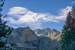 USA, California, Eastern Sierra, Mountain landscape with trees - stock photo