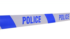 """Tape Barrier """"police"""" in the wind on white screen, close up. Stock Footage"""