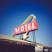 USA, California, Lake Los Angeles, Motel Sign - stock photo