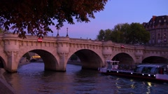 Paris, view of Pont Neuf at sunset - stock footage