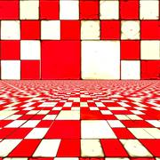 Distorted red checkers Stock Illustration