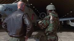 Korea OSAN AIR BASE, November 2015, USA Major Handshake Pilot Stock Footage