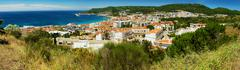 Portugal, Sesimbra, Panoramic view of town on seacoast Stock Photos
