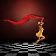 Girl jumping in grunge room - stock illustration