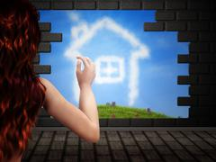 Girl looking at house of clouds in hole in brick wall - stock illustration