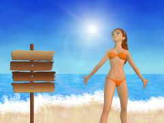 Girl on beach and signboard - stock illustration
